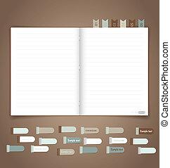 jegyzetfüzet, noha, figyelmeztetés, note., vektor, eps10