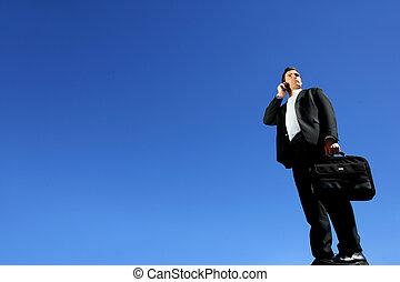 jeho, telefon, proměnlivý, jasný, mluvící, obchodník, den