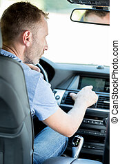 jeho, vůz, šofér, pouívání, navigace, gps