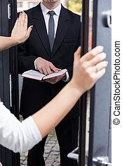 jehovah's, ella, casa, licencia, hablar, testigo