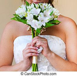 jej, bukiet, dowożeni, alstromeria, twarz, panna młoda, ślub, biały