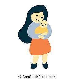jej, dziecko, ilustracja, wektor, dzierżawa, macierz, szczęśliwy