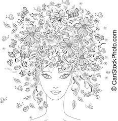 jej, dziewczyna, kwiaty, kolorowanie, głowa, książka