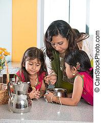 jej, gotowanie, indianin, macierz, córi, kuchnia