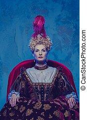 jej, królewski, highness, posiedzenie, na, tron