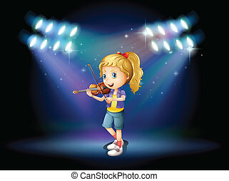 jej, młody, skrzypce, dziewczyna, interpretacja, rusztowanie