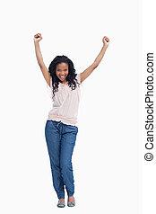 jej, powietrze, siła robocza, szczęśliwa kobieta, stoi, młody