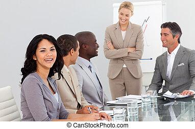 jej, spotkanie, drużyna, kobieta interesu