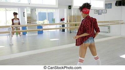 jej, staże, tancerz, studio, samica, porusza się