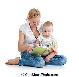 jej, syn, książka, macierz, niemowlę, czytanie