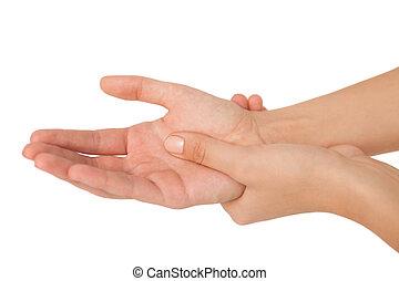jej, wyrządzony nadgarstek, kobieta, dotykanie, młody