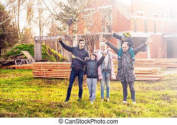 jejich, čerstvý, stálý, šťastný, home., rodina, čelo