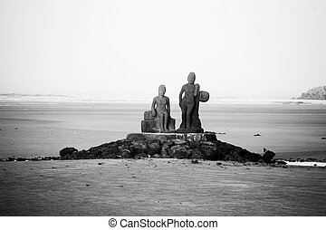 jeju, corée, île, plage, sculpture, sud