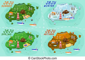 Jeju island travel map. Welcome to Jeju in spring, summer, autumn and winter