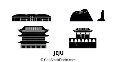 jeju, plat, illustration, voyage, landmarks., symbole, horizon, vecteur, noir, vues, corée, ville, sud, set.