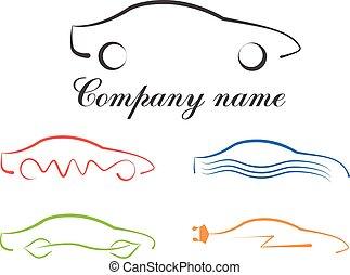 jel, állhatatos, calligraphic, autó