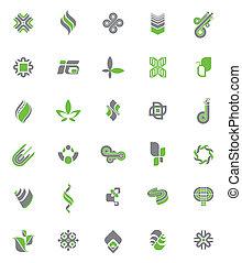 jel, állhatatos, ikonok, elvont, -, vektor