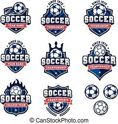 jel, állhatatos, labdarúgás, vektor, futball, vagy