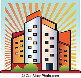 jel, épületek, vektor