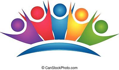 jel, boldog, csoport, színes, csapatmunka