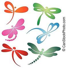 ), jel, butterfly(dragonfly, tervezés