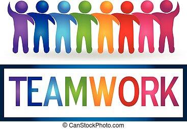 jel, csapatmunka, ölelgetés, emberek