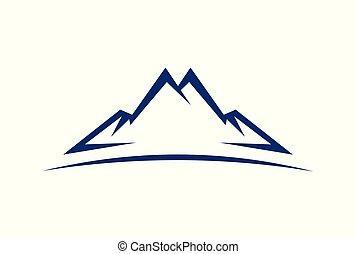 jel, elvont, vektor, ikon, hegy