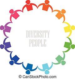 jel, emberek, változatosság, ikon