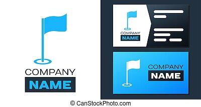 jel, fehér, ikon, golf, tervezés, vagy, sablon, logotype, accessory., vektor, felszerelés, elszigetelt, háttér., element., lobogó