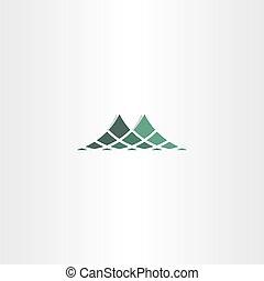 jel, halftone, ikon, zöld hegy