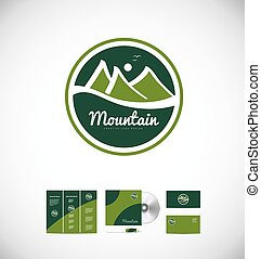 jel, hegy, rajz, ikon