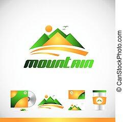 jel, hegy, tervezés, ikon