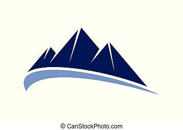 jel, hegy, vektor, ikon