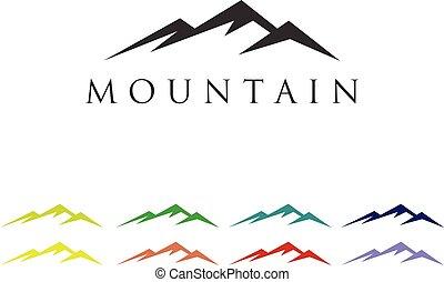 jel, hegy, vektor, sablon, ikon