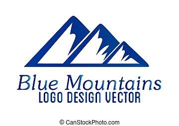 jel, hegyek, ikon, vektor