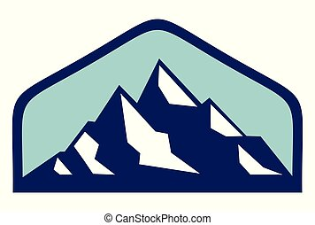 jel, hegyek, vektor, ikon