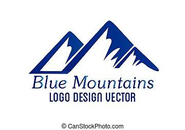 jel, hegyek, vektor, ikon, logotype