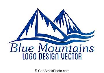 jel, ikon, vektor, hegyek