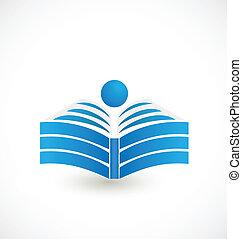 jel, könyv, nyílik, ábra, ikon