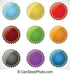 jel, különböző, színes