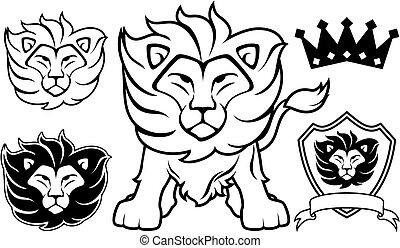 jel, oroszlán, vektor, tervezés elem