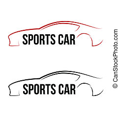 jel, sport, calligraphic, autó