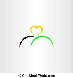 jel, szív, nap, ikon, hegy