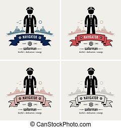 jel, tengerész, kapitány, vagy, design.