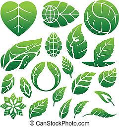 jel, tervezés elem, levél növényen, ikonok