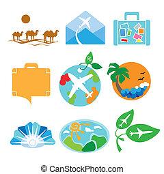 jel, utazás, vektor, ügynökségek, gyűjtés