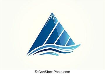 jel, vektor, logotype, hegyek, ikon