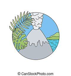 jel, vektor, szórakozottan firkálgat, vulkán