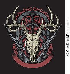 jeleń, czaszka, karabin