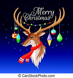 jeleń, kartka na boże narodzenie, powitanie